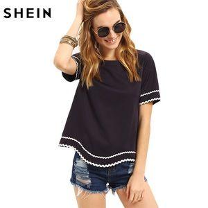 SHEIN Navy Short Sleeve Waved Trim Top Size L NEW